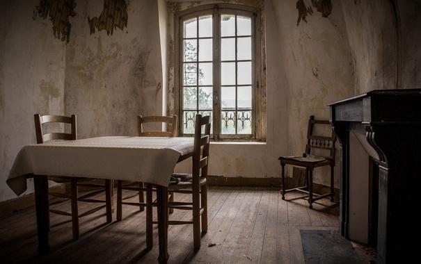 Фото обои стол, комната, стулья