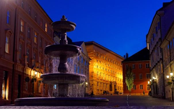 Фото обои ночь, огни, улица, дома, фонари, фонтан, Словения