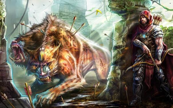 Фото обои bow, arrows, hunter, creature, wounds, feline