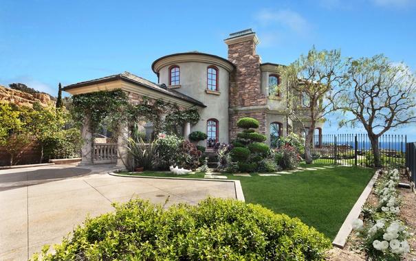 Фото обои море, солнце, деревья, цветы, дизайн, дом, газон