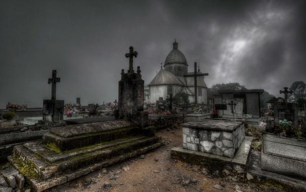 Фото обои ночь, город, кладбище