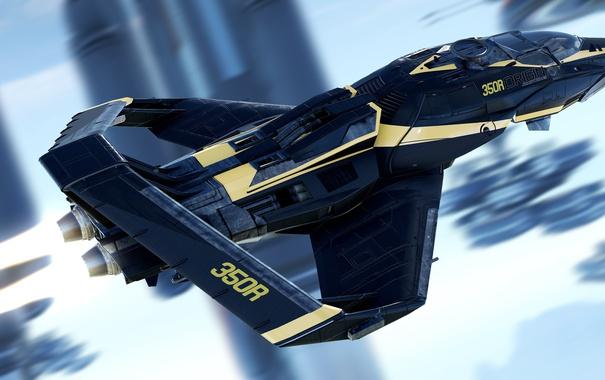 Фото обои полет, корабль, Star Citizen, Origin 350R
