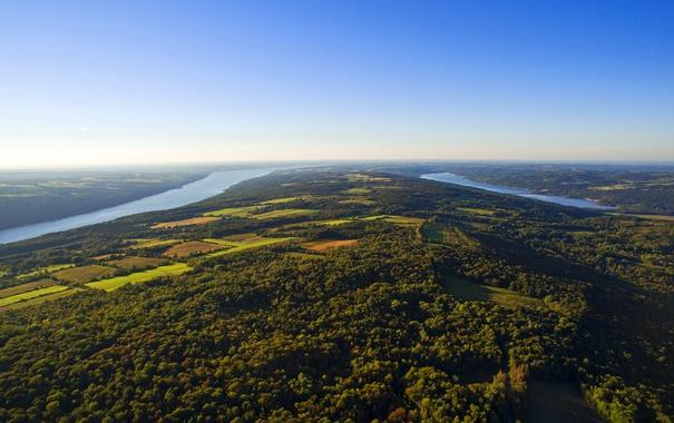 Фото обои небо, поля, озера, горизонт, панорама, США, леса