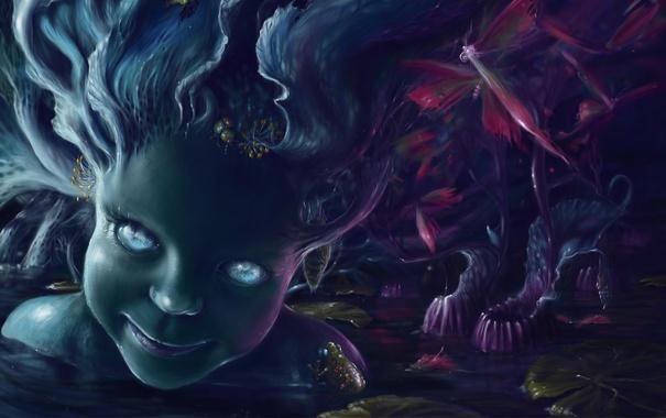 Фото обои вода, лицо, болото, русалка, лягушка, арт, девочка
