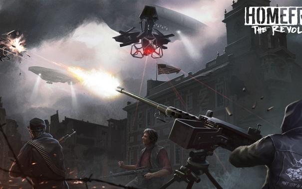 Фото обои город, дирижабль, пулемет, революция, art, турель, дрон