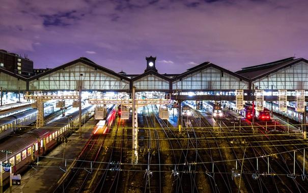 Фото обои огни, Франция, Париж, рельсы, вокзал, Сен-Лазар