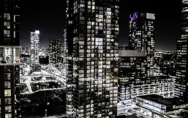 Фото обои ночь, город, огни, Канада, Торонто, Toronto