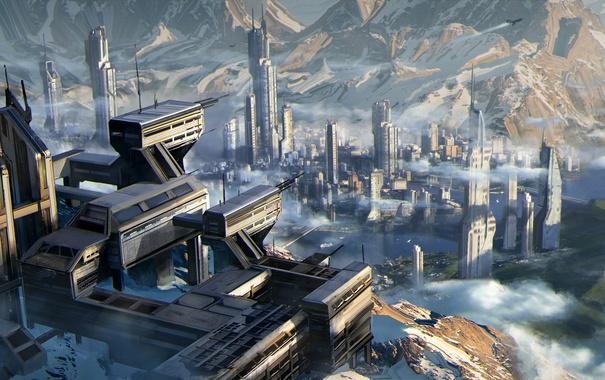Фото обои город, фантастика, планета, панорама, Star Citizen