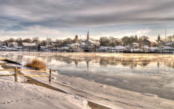 Фото обои Snow, Winter, Painterly, Church, Morning, Warren Rhode Island, Barrington River