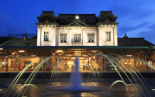 Фото обои вокзал, станция, Япония, фонтан, Фукуока, Mojiko, Китакюсю