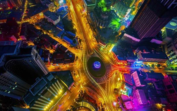Фото обои ночь, огни, дома, Китай, улицы, Площадь Дружбы, Далянь