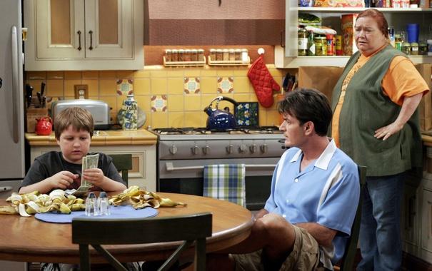 Фото обои сериал, актеры, персонажи, Чарли Шин, Джейк Харпер, Чарли Харпер, Два с половиной человека