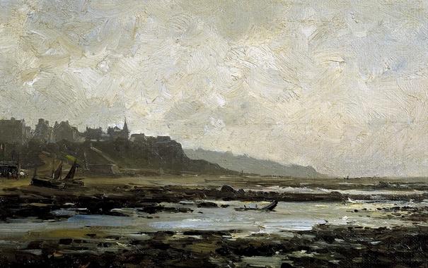 Фото обои пейзаж, город, берег, картина, отлив, Карлос де Хаэс, Пляж в Виллервиле