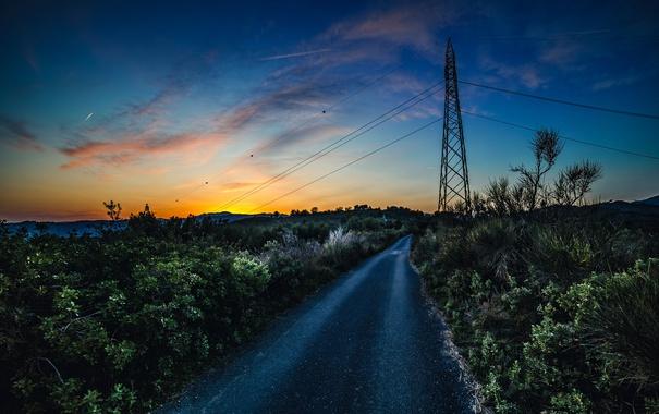 Фото обои дорога, небо, закат, провода, ЛЭП, кусты, Country Road