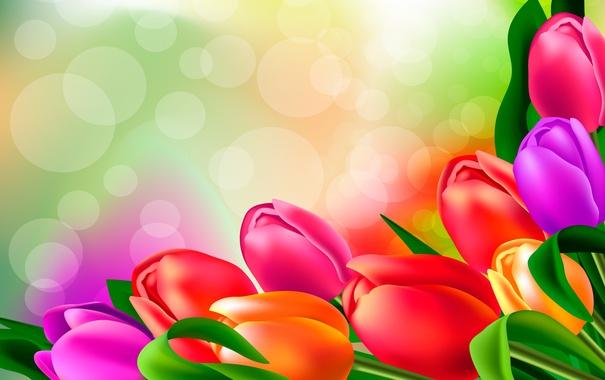 Фото обои яркие, рисунок, тюльпаны, бутоны
