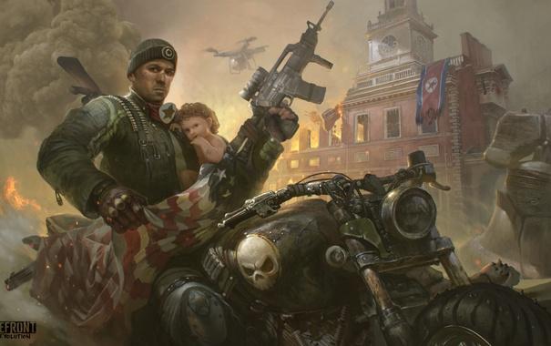 Фото обои свобода, город, оружие, огонь, война, ребенок, флаг
