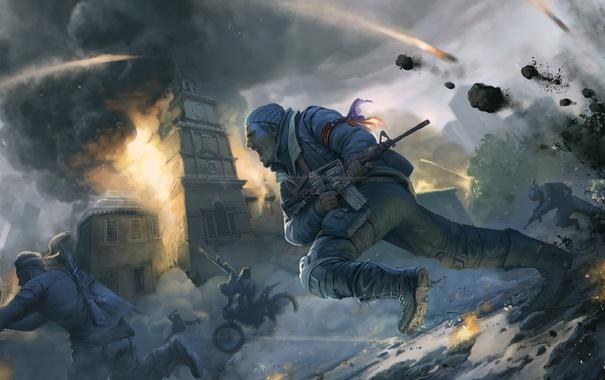 Фото обои город, война, бой, автомат, солдаты, схватка, революция