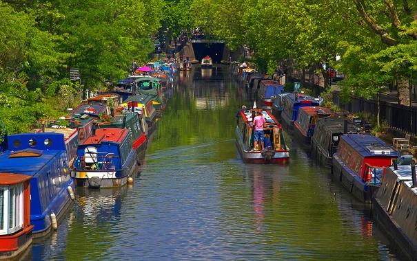 Фото обои деревья, пейзаж, лодка, Англия, Лондон, канал, маленькая Венеция