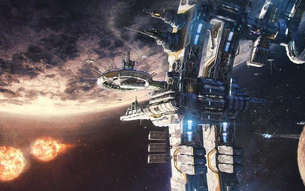 Фото обои космос, поверхность, планета, станция
