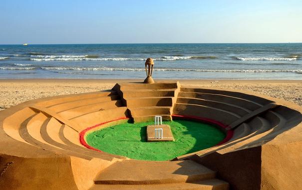 Фото обои песок, море, берег, Индия, макет, стадион, крикет