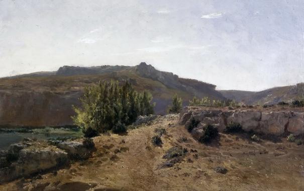 Фото обои деревья, горы, природа, камни, картина, Карлос де Хаэс, Пейзаж в Нуэлавосе
