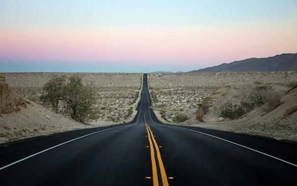 Фото обои дорога, утро, долина