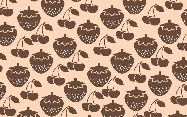 Фото обои ягоды, фрукты, еда, текстура, вишня, клубника