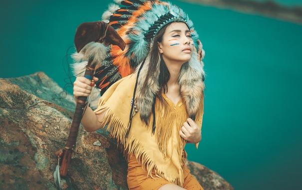 Фото обои девушка, лицо, стиль, одежда, перья, раскрас, головной убор