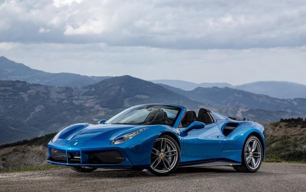 Фото обои Ferrari, суперкар, феррари, синяя, Spider, 488