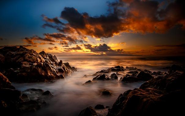 Фото обои море, закат, камни, берег