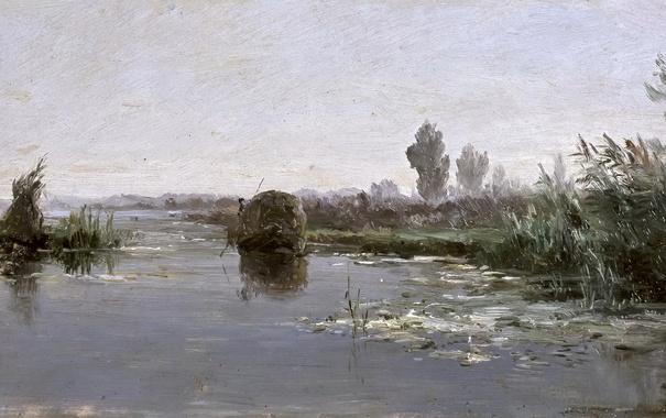 Фото обои природа, картина, Речной Пейзаж, Карлос де Хаэс