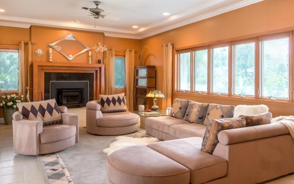 Фото обои диван, окна, подушки, камин, гостиная