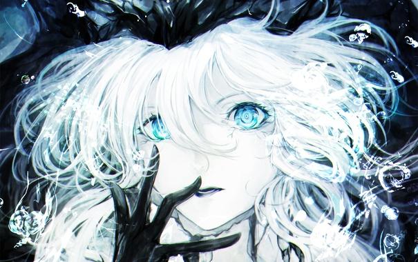 Фото обои крупный план, пузыри, Девушка, голубые глаза, белые волосы