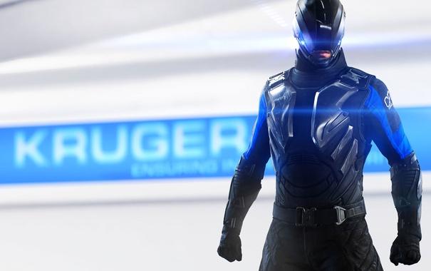 Фото обои черный, солдат, губы, пояс, перчатки, шлем, враг