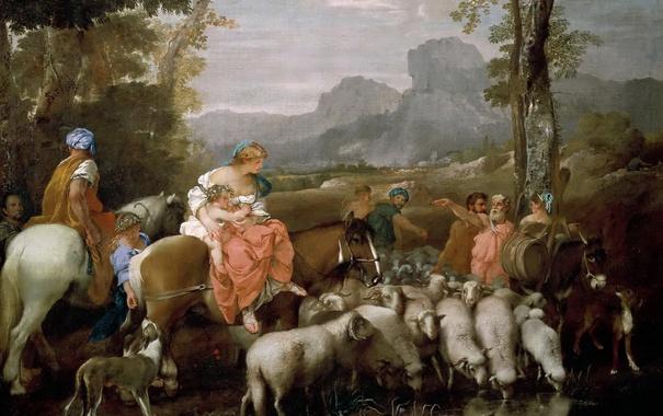 Фото обои картина, мифология, Путешествие Иакова, Andrea di Leone