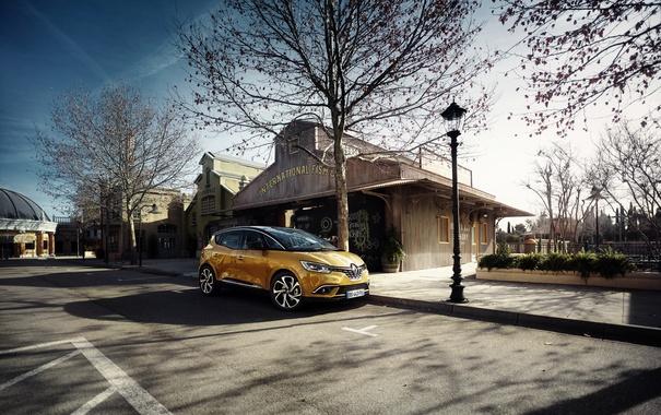 Фото обои город, Renault, рено, Scenic, сценик