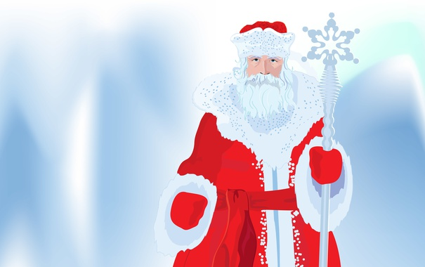 Фото обои Зима, Новый год, Дед Мороз, Посох, Мешок