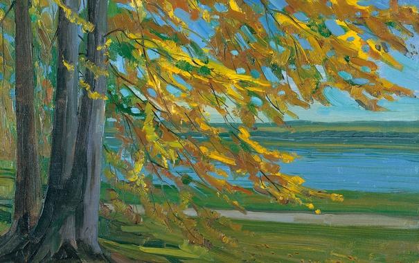Фото обои осень, пейзаж, дерево, картина, Озеро Старнбергер, Вильгельм Трюбнер