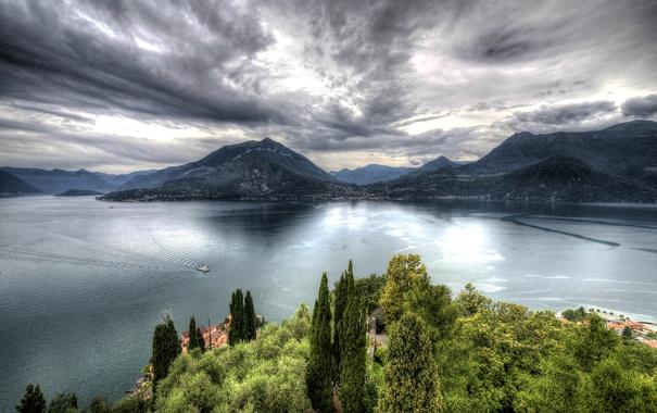 Фото обои облака, горы, озеро, HDR, Италия, Castello di Vezio