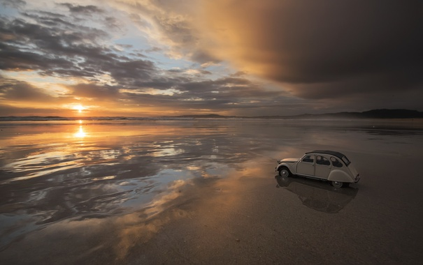 Фото обои море, машина, закат