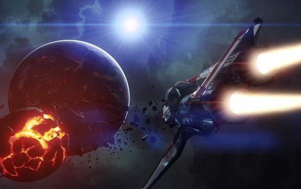 Фото обои полет, взрыв, корабль, Star Citizen, Origin M50