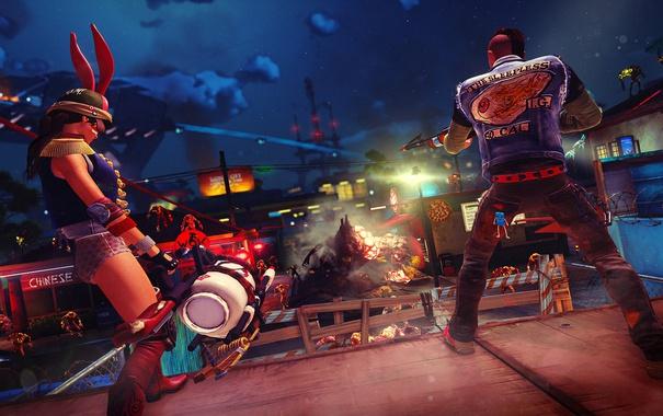Фото обои эксклюзив, видеоигра, Xbox One, Sunset Overdrive, Microsoft Studios, открытый мир, Sunset City 2027