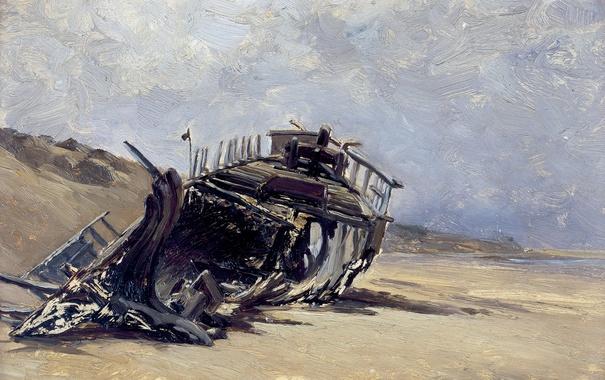 Фото обои пейзаж, берег, картина, Карлос де Хаэс, Обломки Корабля