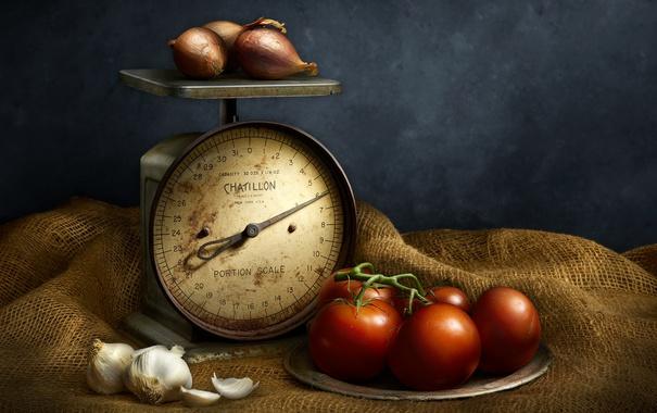 Фото обои фон, овощи, весы