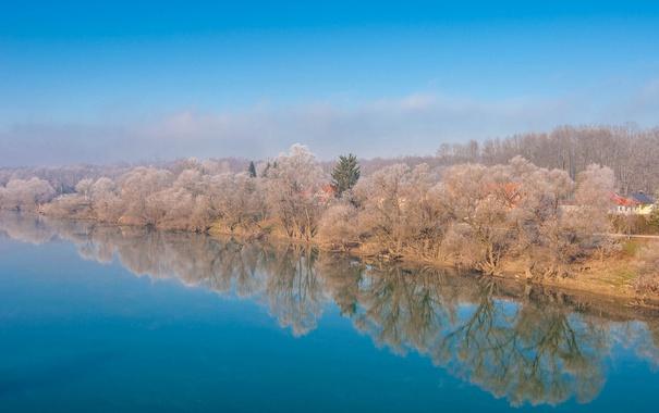 Фото обои Croatia, небо, Хорватия, природа, деревья, река
