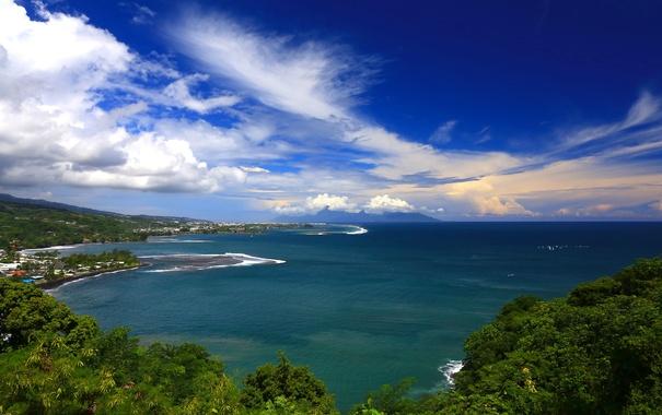 Фото обои океан, побережье, Pacific Ocean, Tahiti, водная гладь, Таити, French Polynesia