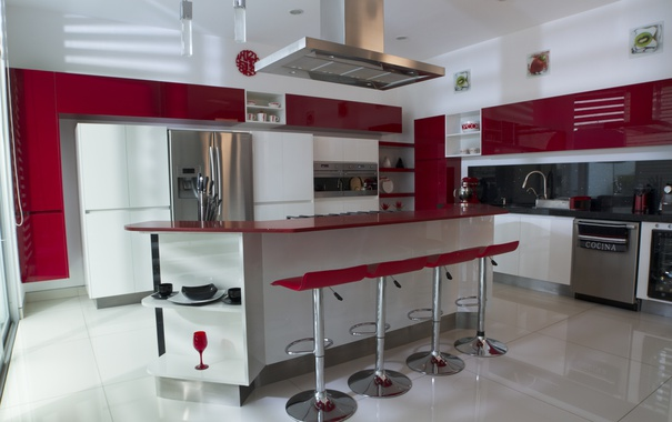 Фото обои red, design, decoration, kitchen