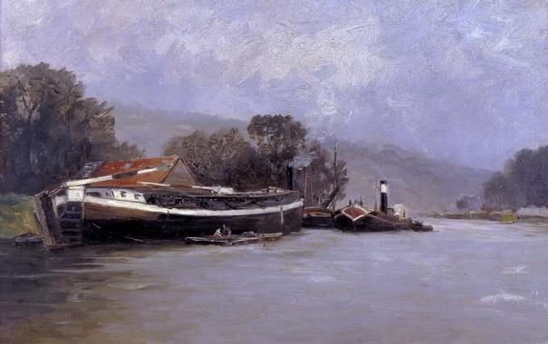 Фото обои пейзаж, река, корабль, картина, Карлос де Хаэс, Сена в Руане