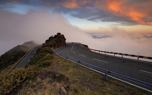 Фото обои дорога, небо, горы