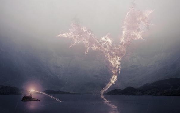 Фото обои озеро, дракон, человек